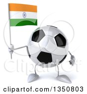 Clipart Of A 3d Soccer Ball Character Holding An Indian Flag Royalty Free Illustration