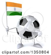 Clipart Of A 3d Soccer Ball Character Holding And Pointing To An Indian Flag Royalty Free Illustration by Julos
