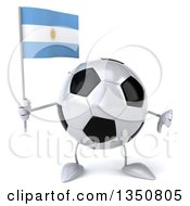 Clipart Of A 3d Soccer Ball Character Holding An Argentine Flag And Giving A Thumb Down Royalty Free Illustration by Julos
