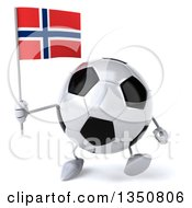 Clipart Of A 3d Soccer Ball Character Holding A Norwegian Flag And Walking Royalty Free Illustration by Julos
