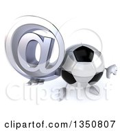 Clipart Of A 3d Soccer Ball Character Holding Up A Thumb Down And Email Arobase At Symbol Royalty Free Illustration by Julos