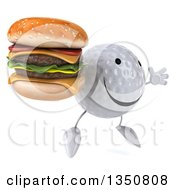 Clipart Of A 3d Happy Golf Ball Character Holding A Double Cheeseburger And Jumping Royalty Free Illustration