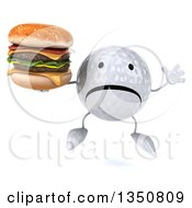 Clipart Of A 3d Unhappy Golf Ball Character Holding A Double Cheeseburger And Jumping Royalty Free Illustration by Julos