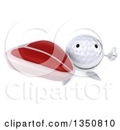 Clipart Of A 3d Happy Golf Ball Character Holding Up A Thumb And A Beef Steak Royalty Free Illustration