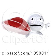 Clipart Of A 3d Unhappy Golf Ball Character Holding Up A Thumb Down And A Beef Steak Royalty Free Illustration