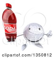 Clipart Of A 3d Happy Golf Ball Character Holding Up A Thumb And A Soda Bottle Royalty Free Illustration