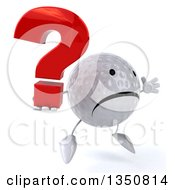 Clipart Of A 3d Unhappy Golf Ball Character Holding A Question Mark And Jumping Royalty Free Illustration