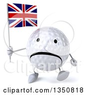 Clipart Of A 3d Unhappy Golf Ball Character Holding A British Union Jack Flag And Walking Royalty Free Illustration