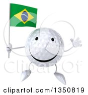 Clipart Of A 3d Happy Golf Ball Character Holding A Brazilian Flag And Jumping Royalty Free Illustration