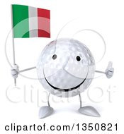 Clipart Of A 3d Happy Golf Ball Character Holding An Italian Flag And Giving A Thumb Up Royalty Free Illustration