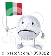Clipart Of A 3d Unhappy Golf Ball Character Holding An Italian Flag Royalty Free Illustration