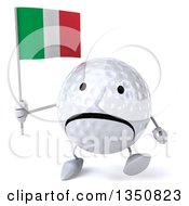 Clipart Of A 3d Unhappy Golf Ball Character Holding An Italian Flag And Walking Royalty Free Illustration