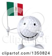 Clipart Of A 3d Happy Golf Ball Character Holding And Pointing To A Mexican Flag Royalty Free Illustration