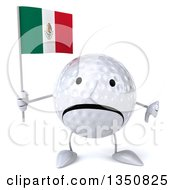 Clipart Of A 3d Unhappy Golf Ball Character Holding A Mexican Flag And Giving A Thumb Down Royalty Free Illustration