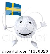 Clipart Of A 3d Happy Golf Ball Character Holding A Swedish Flag And Jumping Royalty Free Illustration