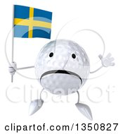 Clipart Of A 3d Unhappy Golf Ball Character Holding A Swedish Flag And Jumping Royalty Free Illustration