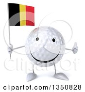 Clipart Of A 3d Happy Golf Ball Character Holding A Belgian Flag And Giving A Thumb Up Royalty Free Illustration