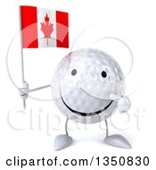 Clipart Of A 3d Happy Golf Ball Character Holding And Pointing To A Canadian Flag Royalty Free Illustration