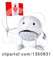 Clipart Of A 3d Unhappy Golf Ball Character Holding A Canadian Flag Royalty Free Illustration