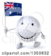 Clipart Of A 3d Happy Golf Ball Character Holding An Australian Flag And Walking Royalty Free Illustration