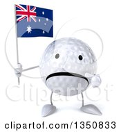 Clipart Of A 3d Unhappy Golf Ball Character Holding And Pointing To An Australian Flag Royalty Free Illustration