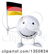 Clipart Of A 3d Happy Golf Ball Character Holding And Pointing To A German Flag Royalty Free Illustration