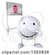 Clipart Of A 3d Happy Golf Ball Character Holding And Pointing To A Japanese Flag Royalty Free Illustration