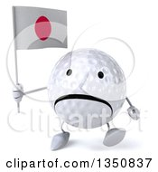 Clipart Of A 3d Unhappy Golf Ball Character Holding A Japanese Flag And Walking Royalty Free Illustration