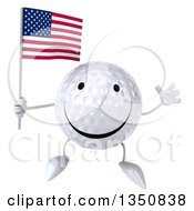 Clipart Of A 3d Happy Golf Ball Character Holding An American Flag And Jumping Royalty Free Illustration