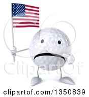 Clipart Of A 3d Unhappy Golf Ball Character Holding And Pointing To An American Flag Royalty Free Illustration