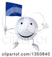 Clipart Of A 3d Happy Golf Ball Character Holding A European Flag And Jumping Royalty Free Illustration