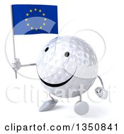 Clipart Of A 3d Happy Golf Ball Character Holding A European Flag And Walking To The Left Royalty Free Illustration
