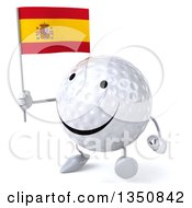 Clipart Of A 3d Happy Golf Ball Character Holding A Spanish Flag And Walking Royalty Free Illustration