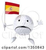 Clipart Of A 3d Unhappy Golf Ball Character Holding A Spanish Flag And Jumping Royalty Free Illustration