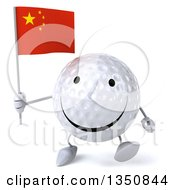 Clipart Of A 3d Happy Golf Ball Character Holding A Chinese Flag And Walking Royalty Free Illustration