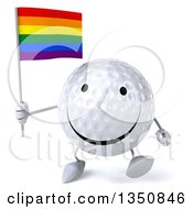 Clipart Of A 3d Happy Golf Ball Character Holding A Rainbow Flag And Walking Royalty Free Illustration