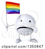 Clipart Of A 3d Unhappy Golf Ball Character Holding And Pointing To A Rainbow Flag Royalty Free Illustration