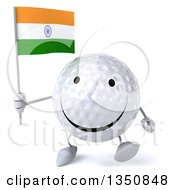 Clipart Of A 3d Happy Golf Ball Character Holding An Indian Flag And Walking Royalty Free Illustration