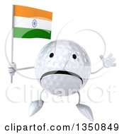 Clipart Of A 3d Unhappy Golf Ball Character Holding An Indian Flag And Jumping Royalty Free Illustration
