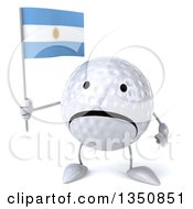 Clipart Of A 3d Unhappy Golf Ball Character Holding An Argentine Flag Royalty Free Illustration by Julos