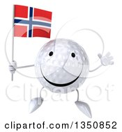 Clipart Of A 3d Happy Golf Ball Character Holding A Norwegian Flag And Jumping Royalty Free Illustration by Julos