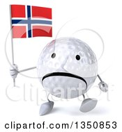 Clipart Of A 3d Unhappy Golf Ball Character Holding A Norwegian Flag And Walking Royalty Free Illustration by Julos