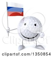 Clipart Of A 3d Happy Golf Ball Character Holding And Pointing To A Russian Flag Royalty Free Illustration