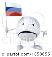 Clipart Of A 3d Unhappy Golf Ball Character Holding A Russian Flag And Giving A Thumb Down Royalty Free Illustration
