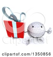 Clipart Of A 3d Happy Golf Ball Character Holding Up A Thumb And A Gift Royalty Free Illustration by Julos