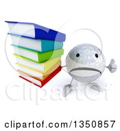 Clipart Of A 3d Unhappy Golf Ball Character Holding Up A Thumb Down And A Stack Of Books Royalty Free Illustration by Julos