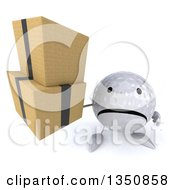 Clipart Of A 3d Unhappy Golf Ball Character Holding Up Boxes Royalty Free Illustration by Julos