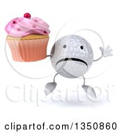 Clipart Of A 3d Unhappy Golf Ball Character Jumping And Holding A Pink Frosted Cupcake Royalty Free Illustration by Julos