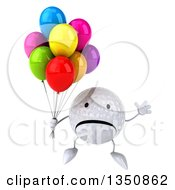 Clipart Of A 3d Unhappy Golf Ball Character Holding Party Balloons And Jumping Royalty Free Illustration by Julos