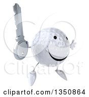 Clipart Of A 3d Happy Golf Ball Character Holding A Key And Jumping Royalty Free Illustration by Julos